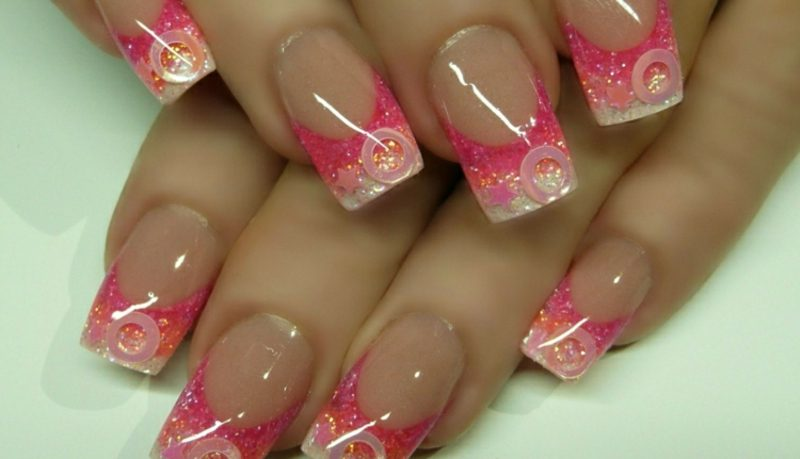 Nageldesign Pink Gel Fingernägel