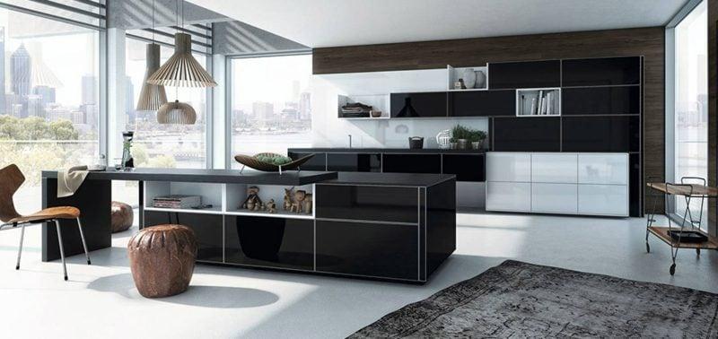 Küchenideen offene Küche schwarz weiss