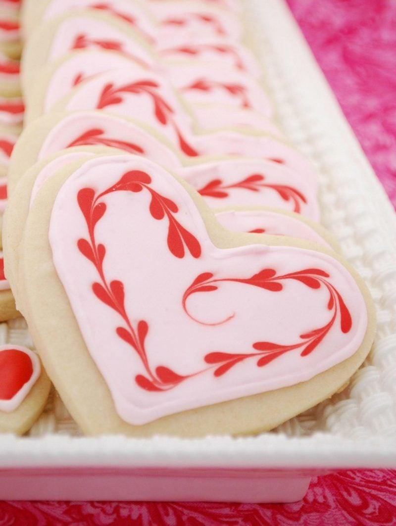 Glasur selber machen Kekse zum Valentinstag