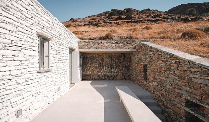 neue Häuser Insel Kea Fassade Stein und Beton