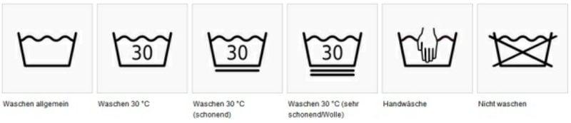 Wäschezeichen Pflegesymbole Textilien