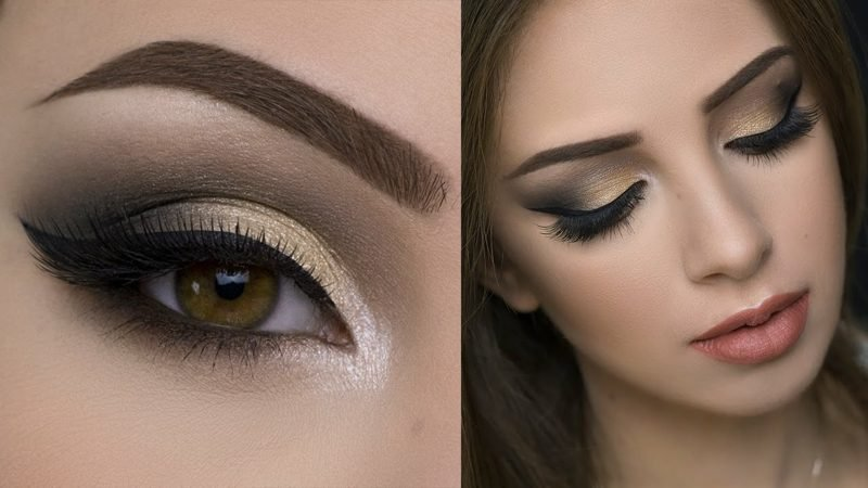 Smokey Make-up Sommer Lidschatten golden
