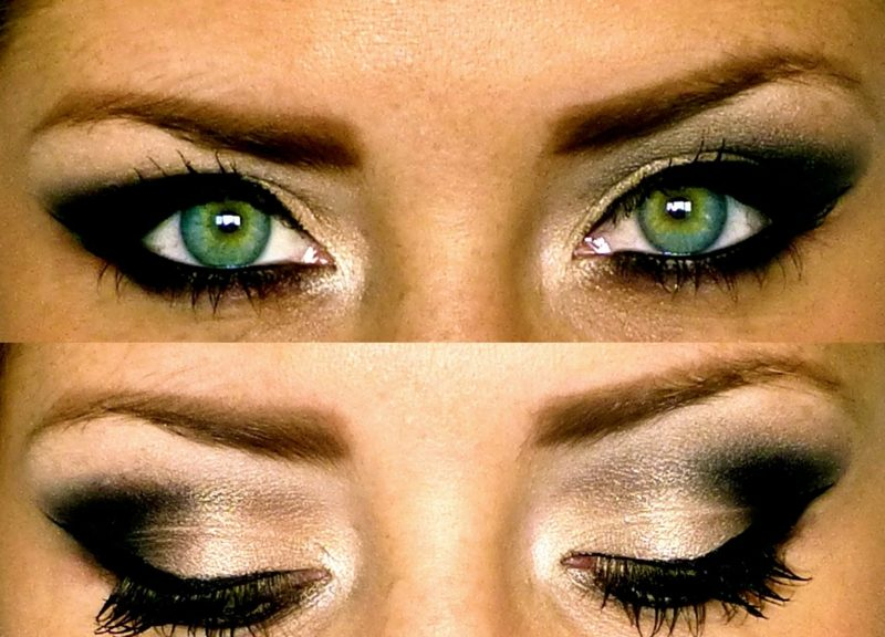 Smokey Eyes Anleitung Lidschatten Schwarz Golden