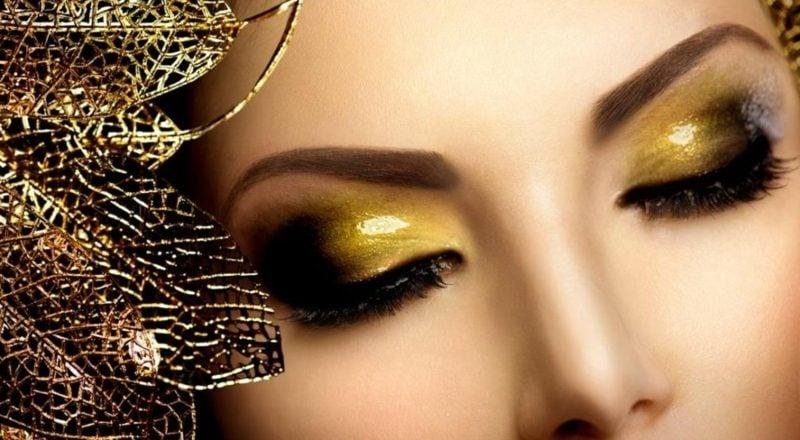 Augen schminken Anleitung goldene Lidschatten