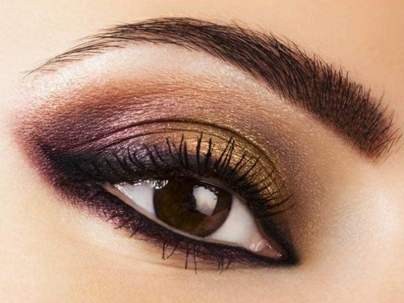 Augen Make-up Anleitung Smokey Eyes in braunen und goldenen Nuancen