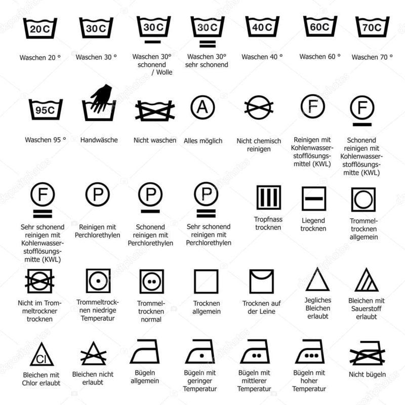 Waschmaschine Zeichen Liste