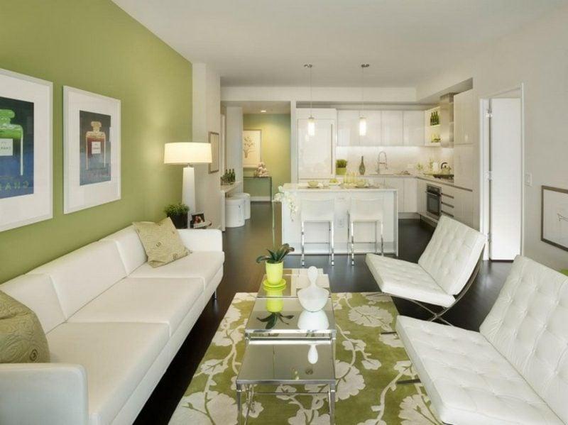 Amerikanische Landhausküche Offen Apfelgrün Weiss. Wohnzimmer ...