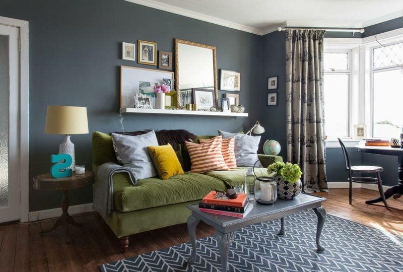 Wandfarben Palette Ideen Wohnzimmer Dunkelgrau