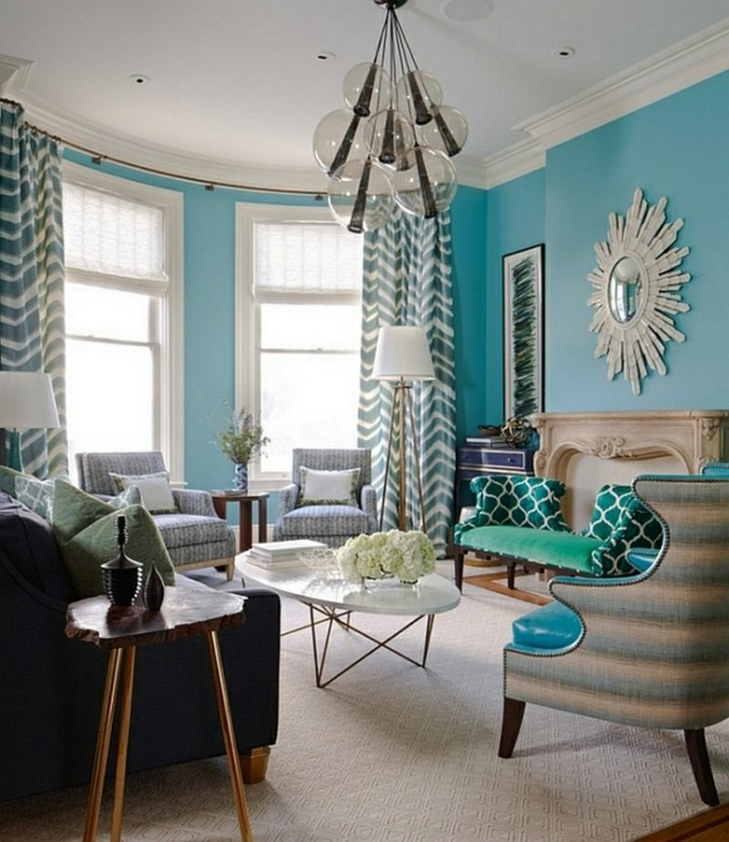 Wandfarbe Blau Wohnzimmer Gestaltungsideen