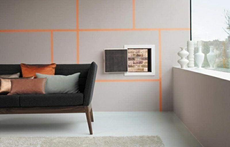 Wohnzimmer Farben Wand geometrische Muster