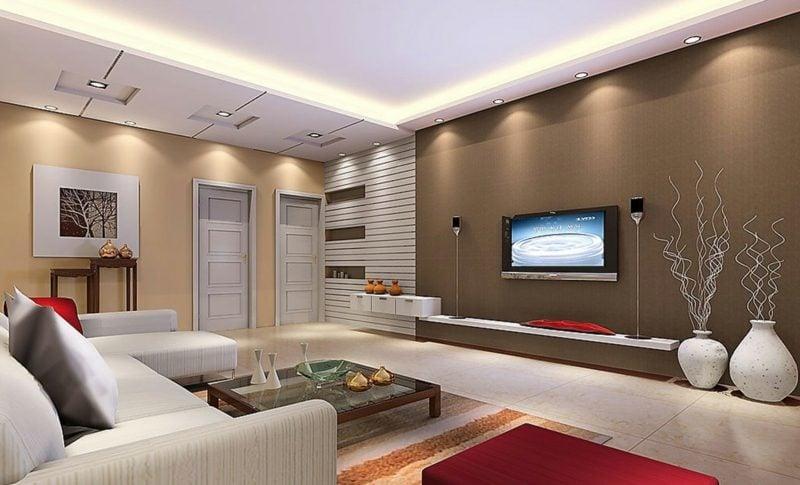 Schöner Wohnen Wandfarbe Schokoladenbraun Modernes Wohnzimmer