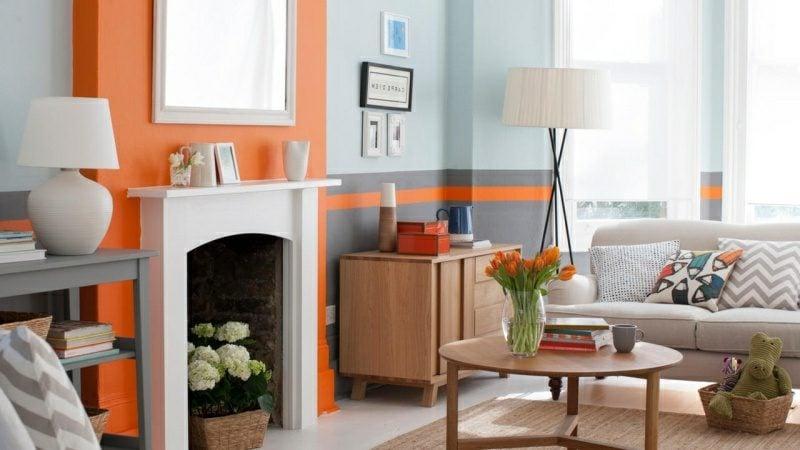 Wandfarbe Wohnzimmer Modern Hellblau Grau Orange