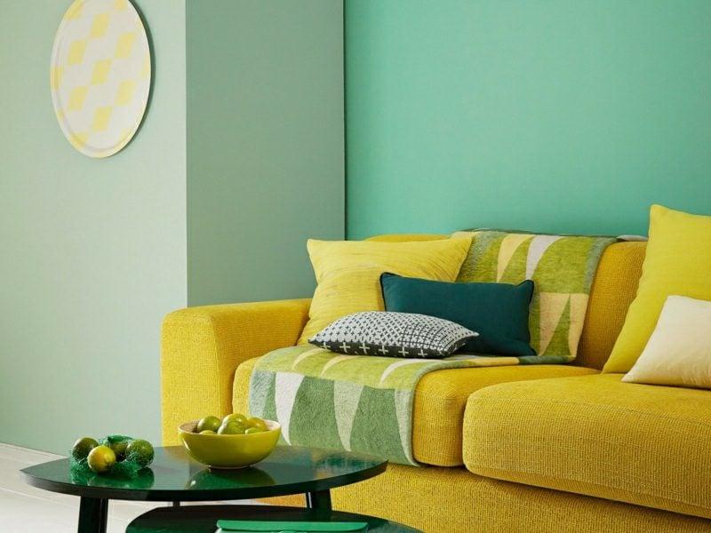 Schöner Wohnen Wandfarbe. Wandgestaltung Ideen Wohnzimmer Farbe Hellblau