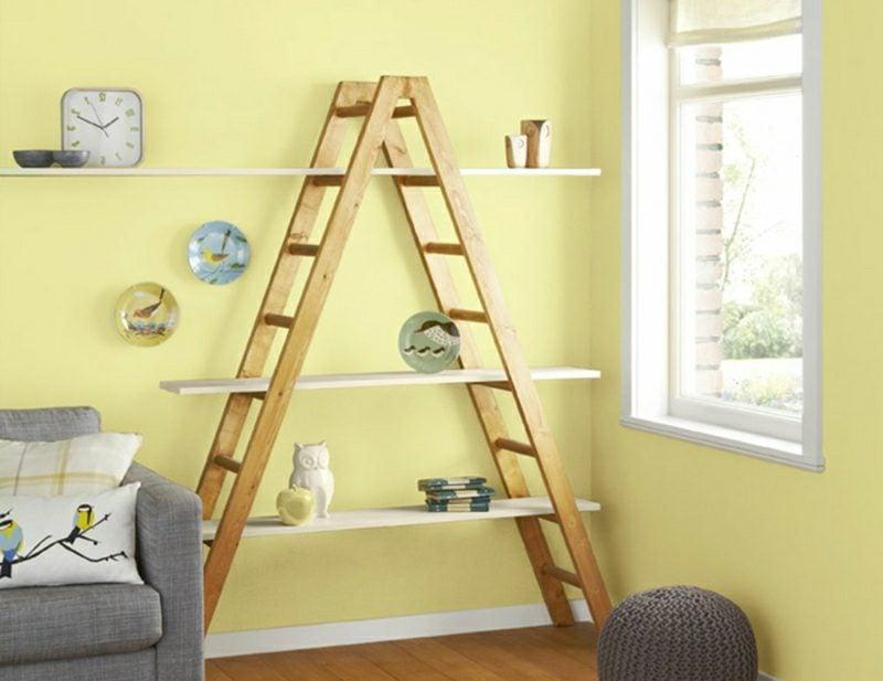 Wandgestaltung Ideen Wohnzimmer Farbe Hellblau
