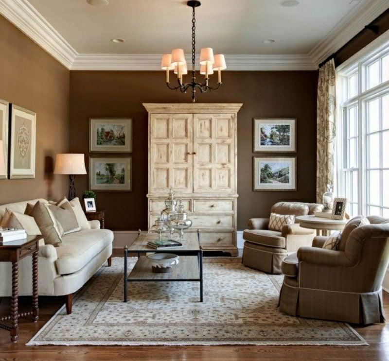 Wohnzimmer Wandfarbe Schokoladenbraun