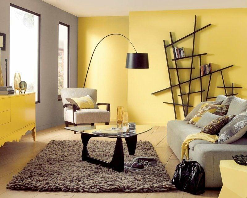 Wandgestaltung Wohnzimmer Gelb Und Grau