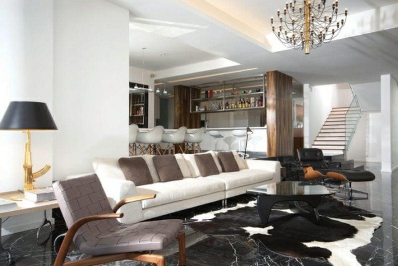 moderne Wohnküche Wohnzimmer Marmorboden