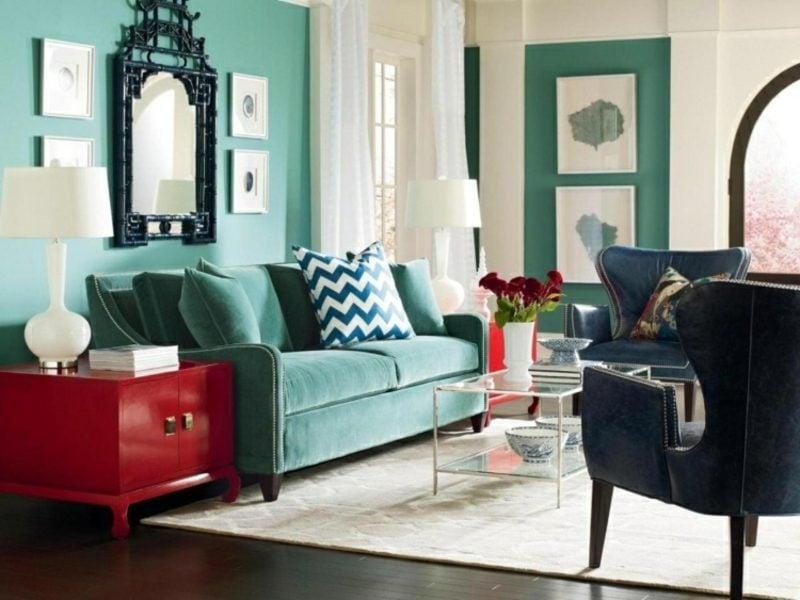 Wandfarben Ideen Türkischblau Wohnzimmer