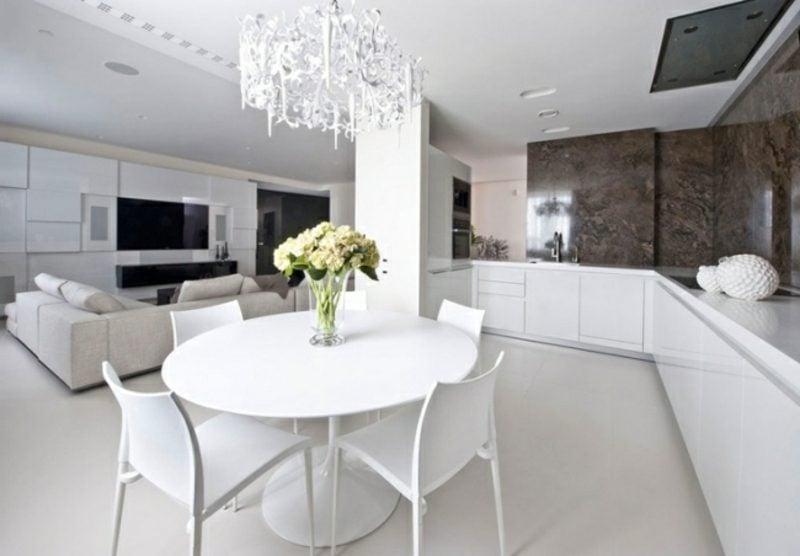 offene Küche mit Theke weiss minimalistisch