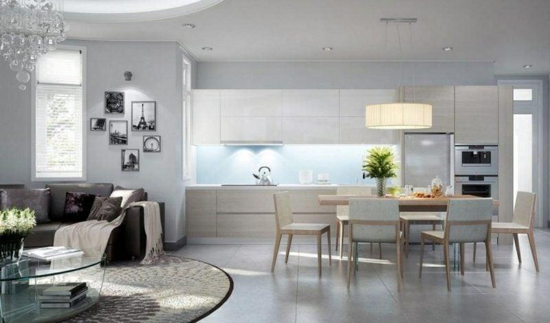 elegante Wohnküche im Hellgrau