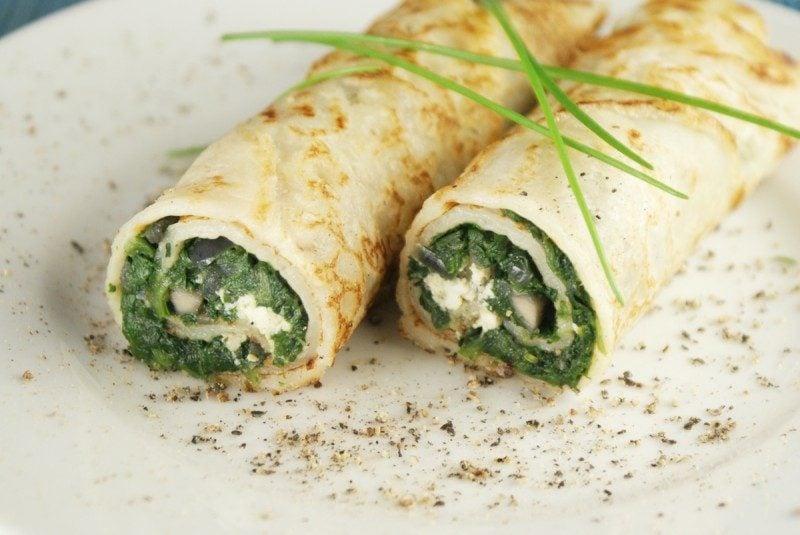 Fitness Gerichte Pfannkuchen mit Spinat und Magerquark