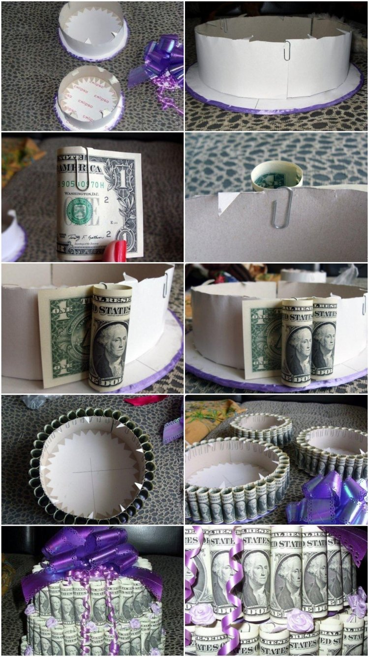 DIY Torte aus Geld Geschenk basteln