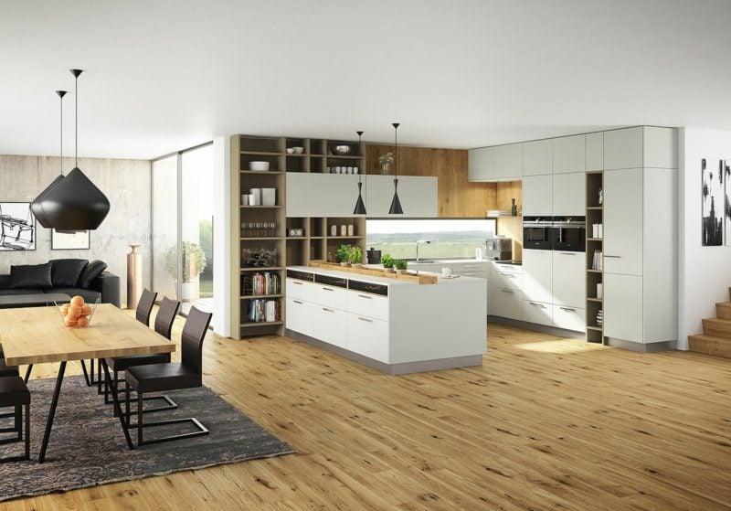 Küchen Ideen moderne offene Küche mit Parkettboden