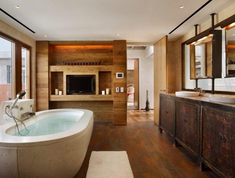 modernes bad mit holz einrichtung