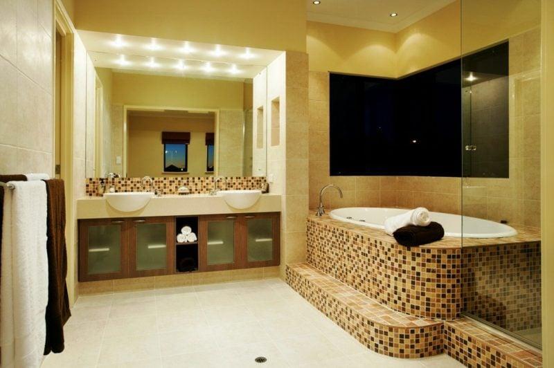 modernes bad gestaltung mosaik wandfliesen