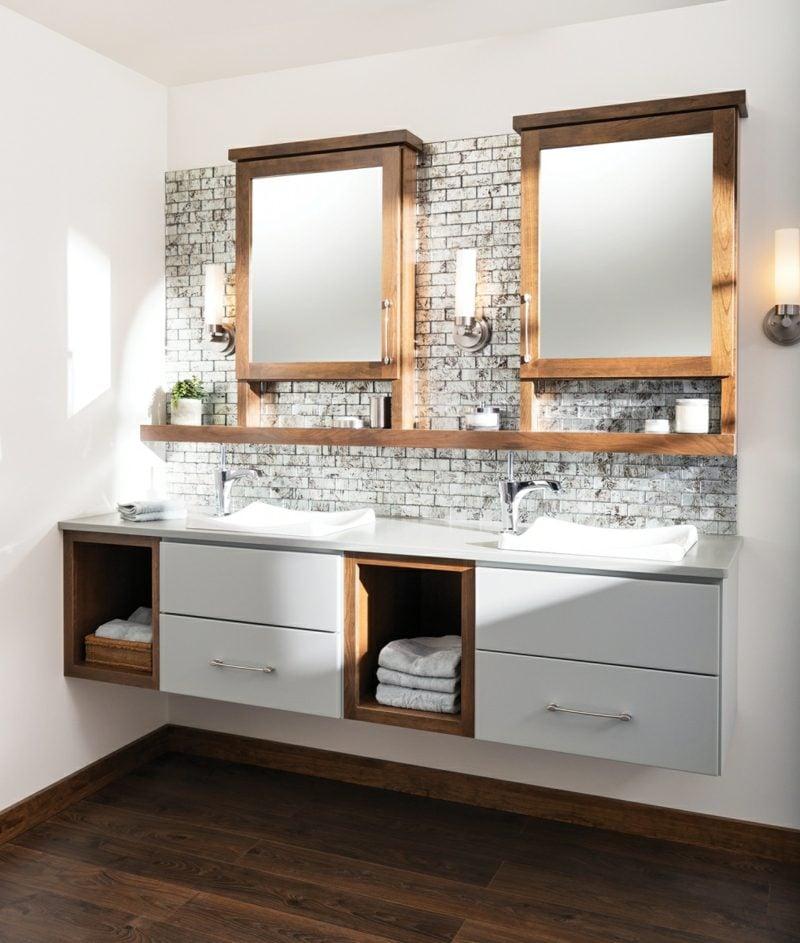moderne badezimmer einrichtung doppelwaschtisch holz unterschrank