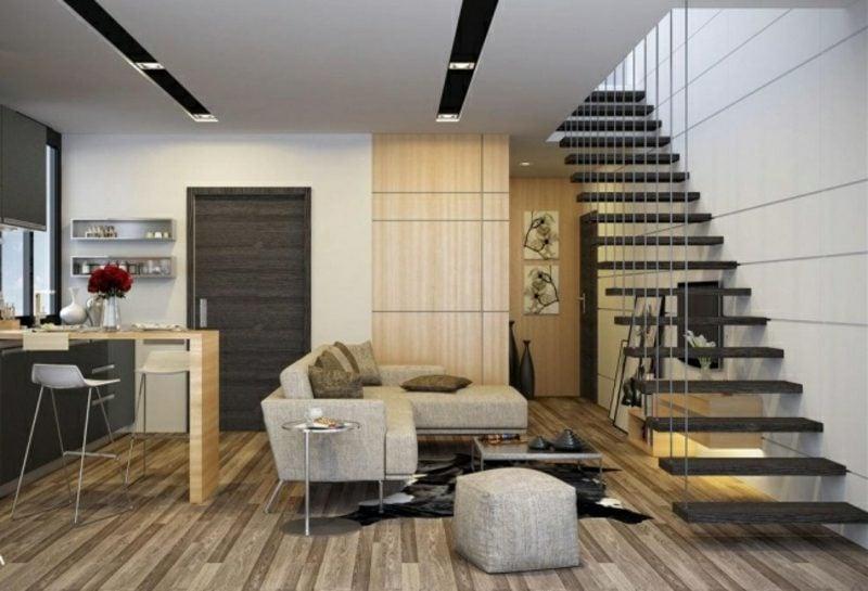 schöne Küchen offene Küche Parkettboden schwebende Treppe