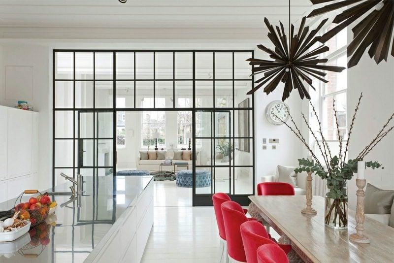 Wohnideen Küche offen modern weiss rote Akzente