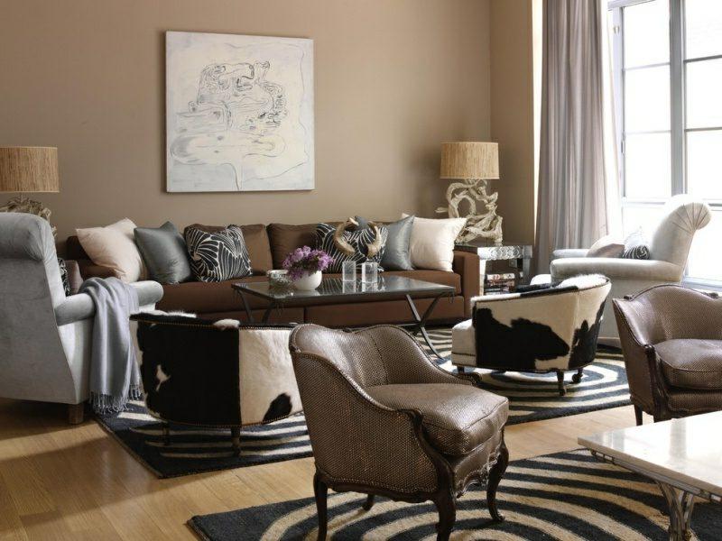 Wandgestaltung Wohnzimmer Schokoladenfarbe