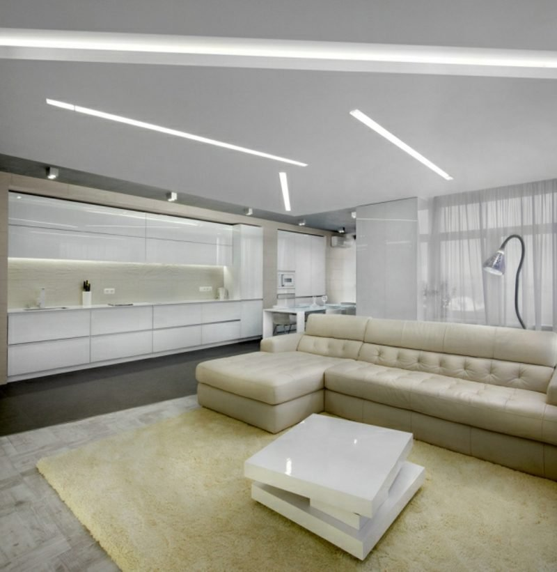 Küchenteppich IKEA creme offene Küche modern minimalistisch