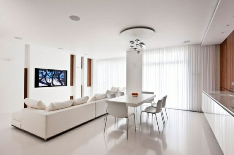 Wohnküche gestalten weiss puristisch moderner Stil