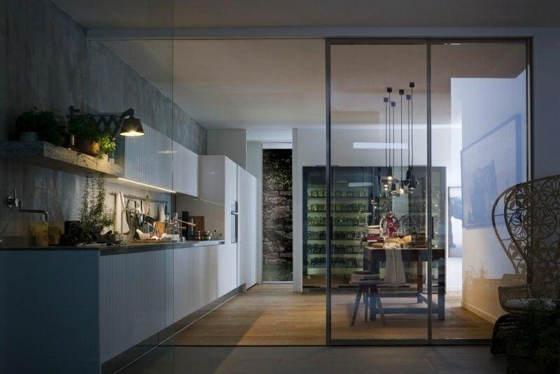 Einrichtungsideen Küche modern vom Wohnzimmer getrennt