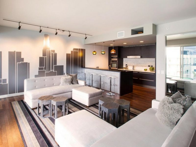 offene Küche Wohnzimmer modern industrieller Stil
