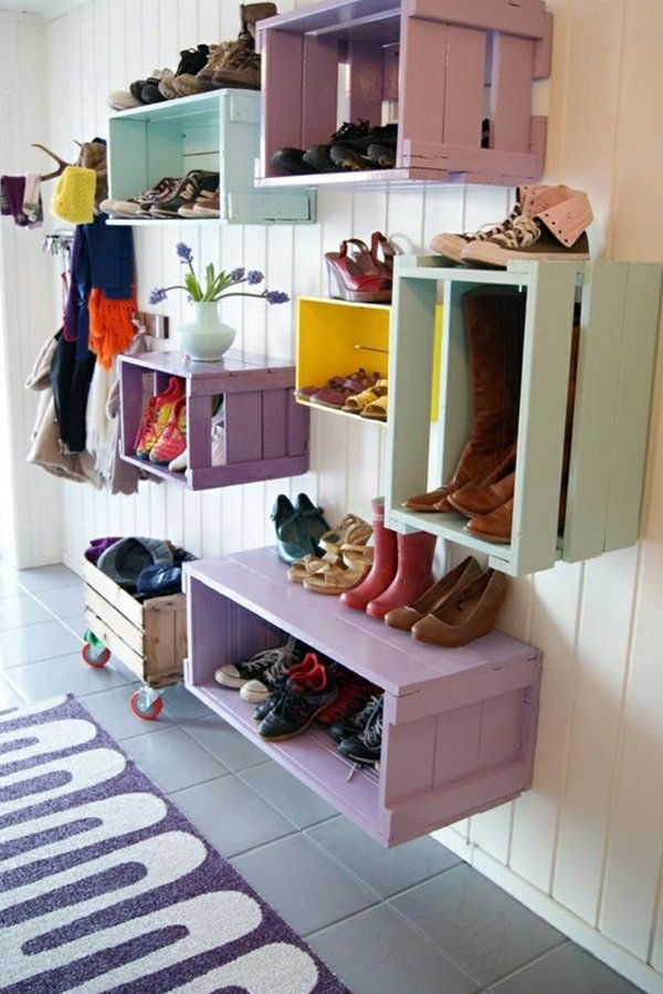 Schuhregal selber bauen weinkisten  Regal selber bauen: 23 DIY Anleitungen und Heimwerkertipps - DIY ...