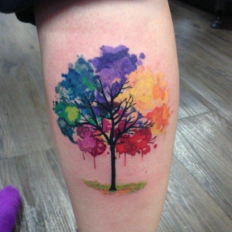 Watercolor Tattoo Bein herrliche Farbgestaltung