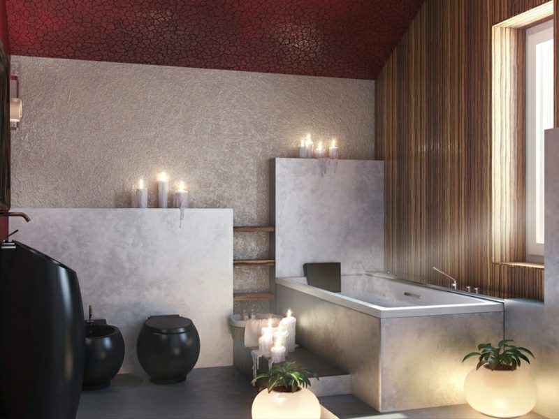 Badezimmer Fliesen grau Stein