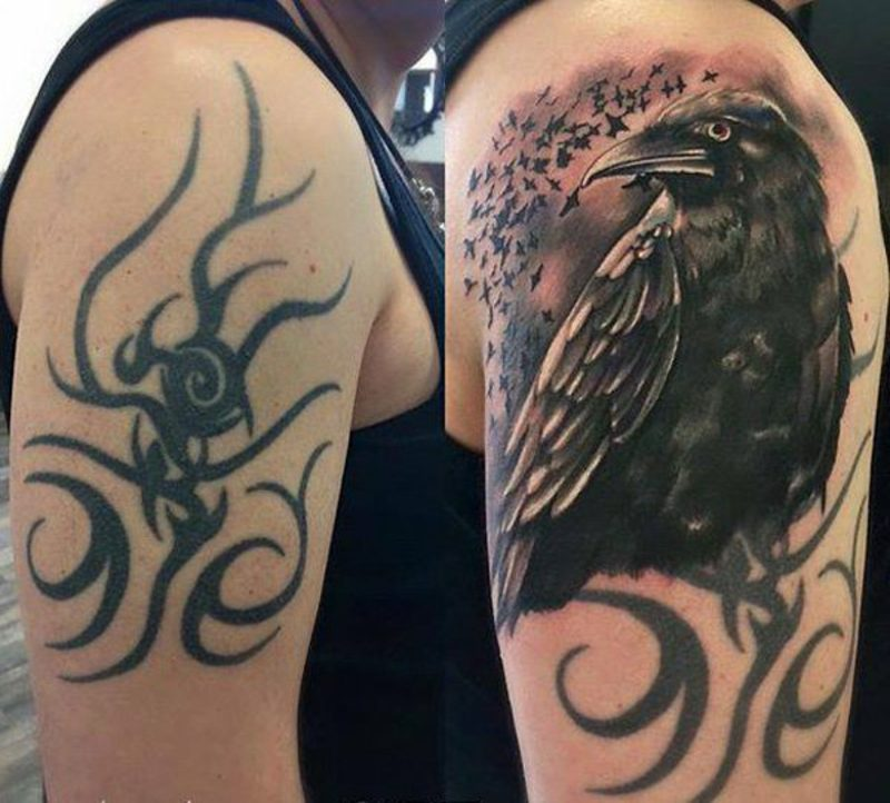 Cover up Tattoo Mann Schulter