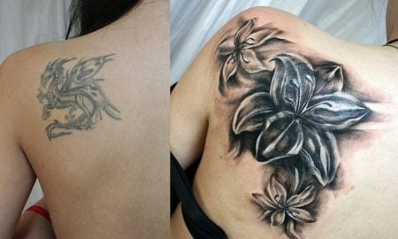 Cover up Tattoo Frau Schulter