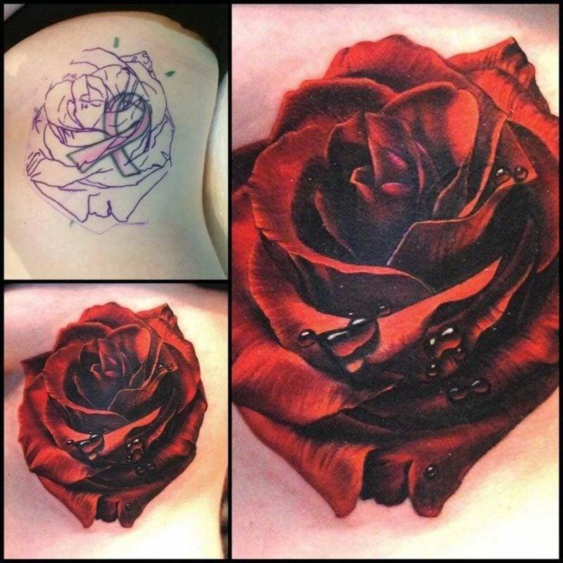 Cover up Tattoo Rose herrliche Farbgestaltung