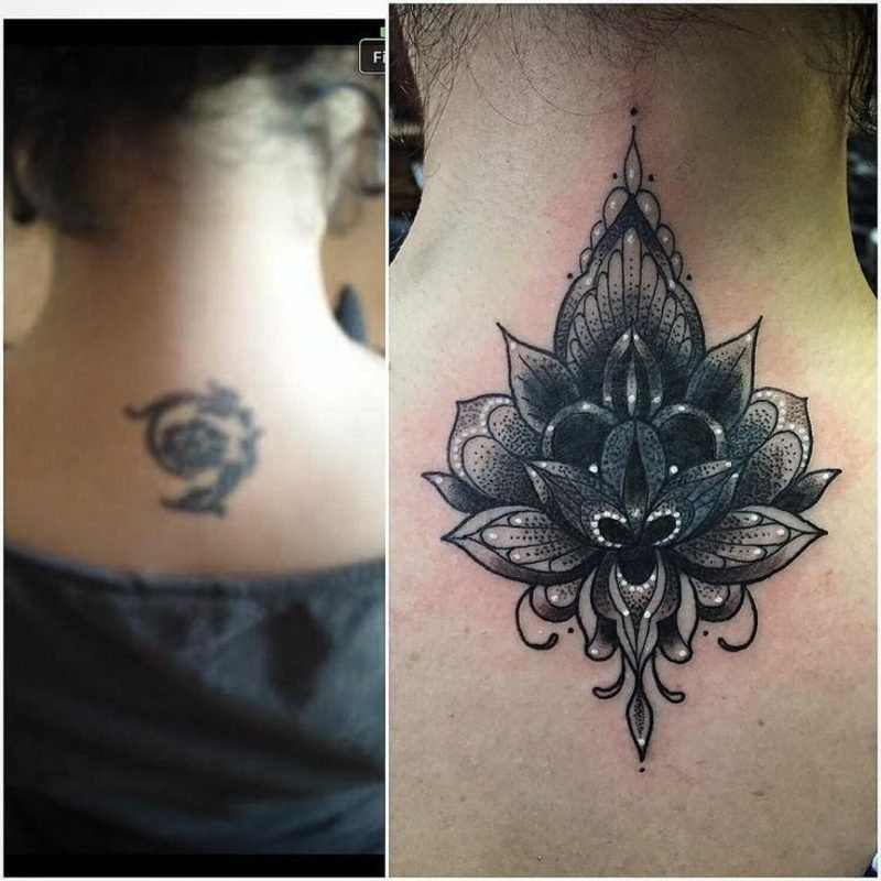 Cover up Tattoo am Nacken