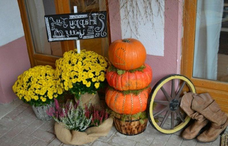 Herbstdeko für den Hauseingang Bastelideen