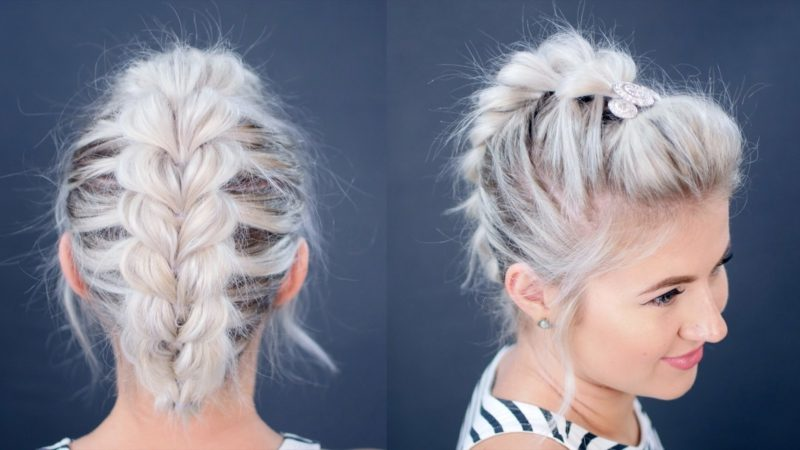 Frisuren modern mittellanges Haar Faux Braid