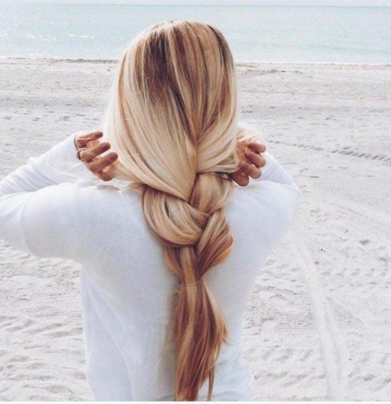 lange Haare Frisuren lockerer Flechtzopf