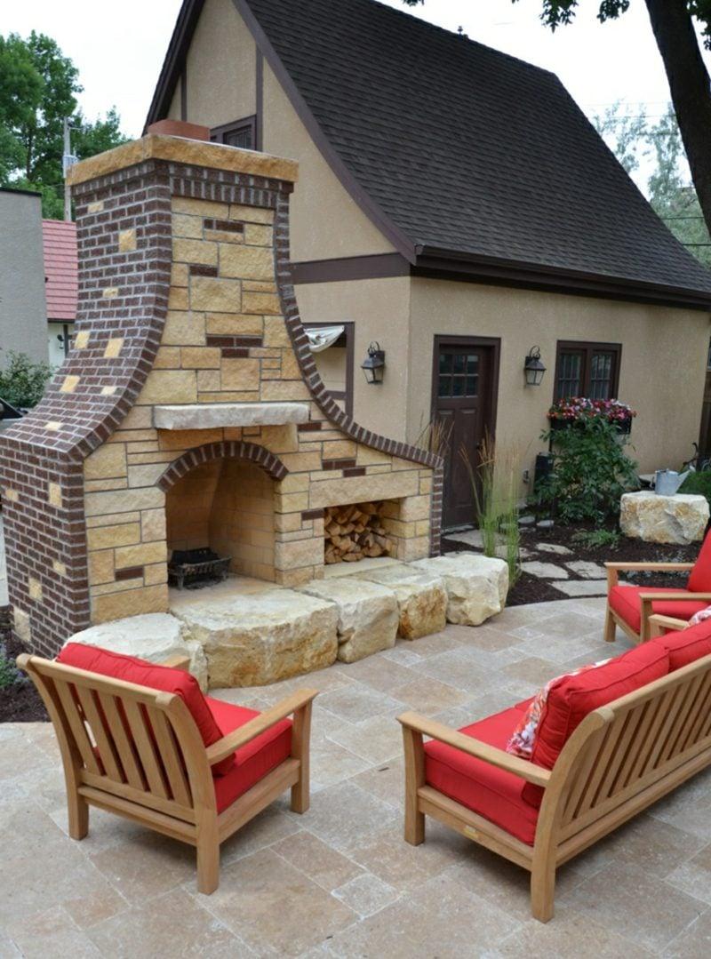 Gartenkamin bauen mehr Komfort auf der Tarrasse