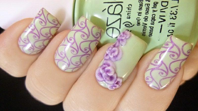 künstliche Nägel Gellack Pastelnuancen Blumenmuster