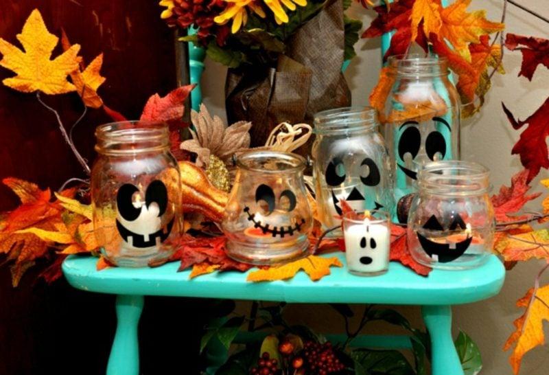 Herbstdeko für den Hauseingang Halloween kreative Ideen